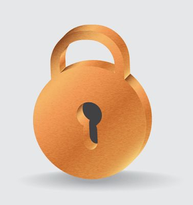 Adobe Illustrator free tutorials: How to create a gold 3d padlock illustration in Ad...