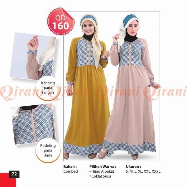 Jual beli Baju Qirani Dewasa Model - 160 di Lapak Aprilia Wati - agenbajumuslim. Menjual Dress - Qirani Dewasa Model 160 Harga Q160  Rp 245.000,- (S,M,L,XL,XXL,XXXL) (XXL,XXXL+Rp.15.000,-)  Ready size : hijau apukat : xl  Bahan : Combed Pilihan Warna : Coklat Susu, Hijau Alpukat Ukuran : S, M, L, XL, XXL, XXXL  HARGA SETIAP SIZE BEDA, SEBELUM CLOSING Mohon dipastikan size apa yang diperlukan.  Untuk mengetahui ketersediaan Stok, CHAT ME ya....  HAPPY SHOPPING
