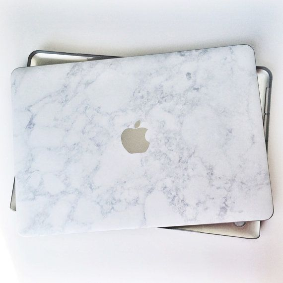 Marble and Silver MacBook Air and Pro Laptop case with the Apple Logo detail. To add monogram: