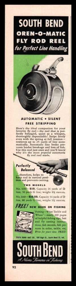1950 SOUTH BEND Oren-O-Matic Fly Fishing Reel PRINT AD Vintage Advertising