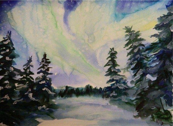 polar lights avrora borealis watercolor, Julia Latte www.delopodushe.org