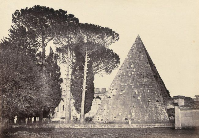 Pyramid of Caius Cestius and the English burying ground, Rome. 1850s.