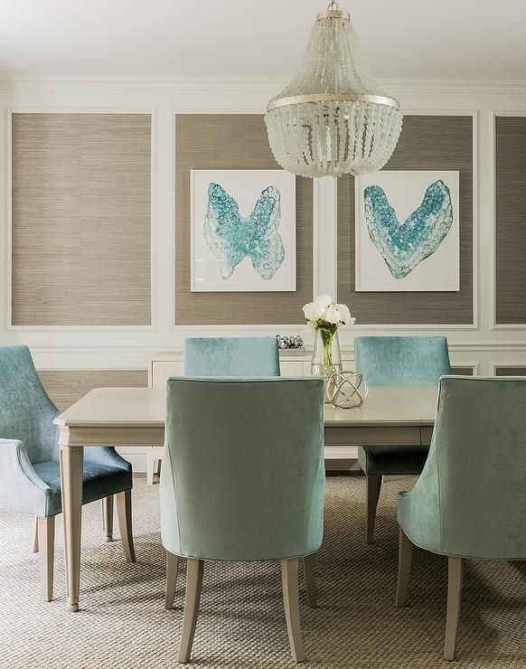 Taupe And Turquoise Blue Dining Room Features Stacked Decorative Wall Moldings Filled With Grasscloth Lined