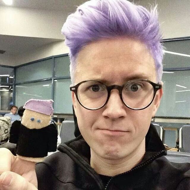 Tyler Oakley hair color purple here but currently mint green