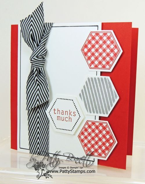 handmade thank-you card ... classic red, white & black colors ... luv the hexagon ribbon tied in a knot ... stamped, punched and popped up hexagons ... like the sentiment fitting perfectly inside the hexagon ... square card but could be modified to me a standard rectangle .. great card!! ... Stampin' Up!