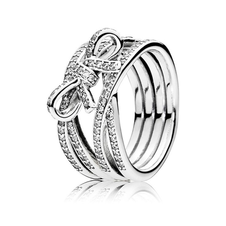 Pandora 925 Sterling Silber Delicate Sentiment Ring mit Glitzernd Bogen 190995CZ