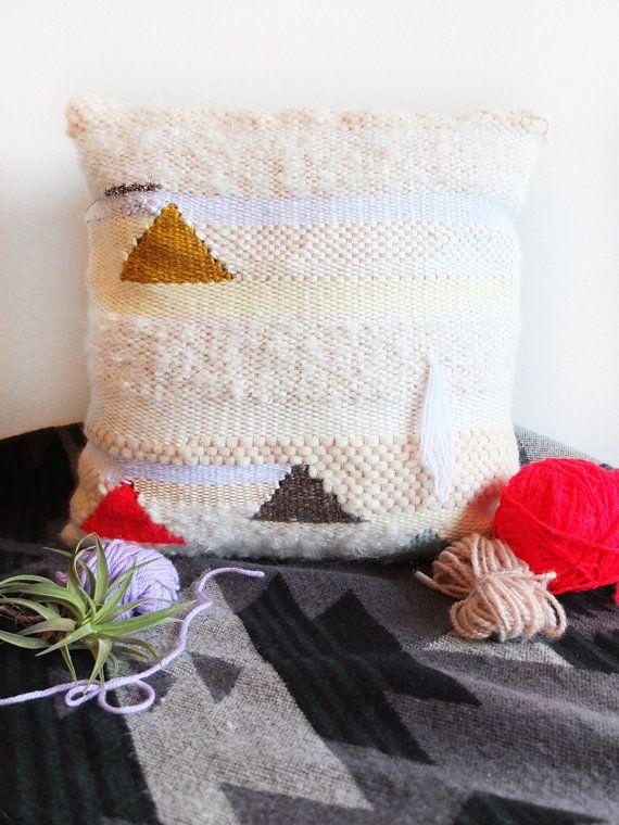 Peaks II  Handmade Woven Tapestry Throw Pillow by LIZTOOHEYWIESE, $180.00