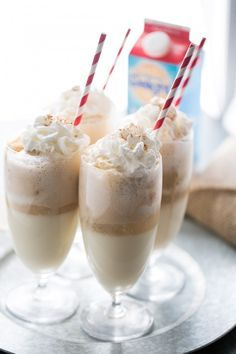 ... ice cream is floating in a bubbly mix of ginger ale and eggnog for a