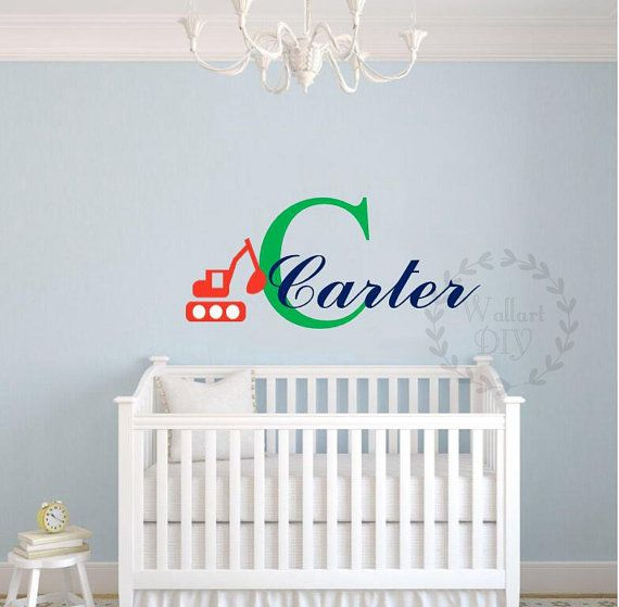 Name wall decal Truck name wall sticker Truck wall decals Boy's name wall sticker Nursery name wall decals Monogram name wall decals