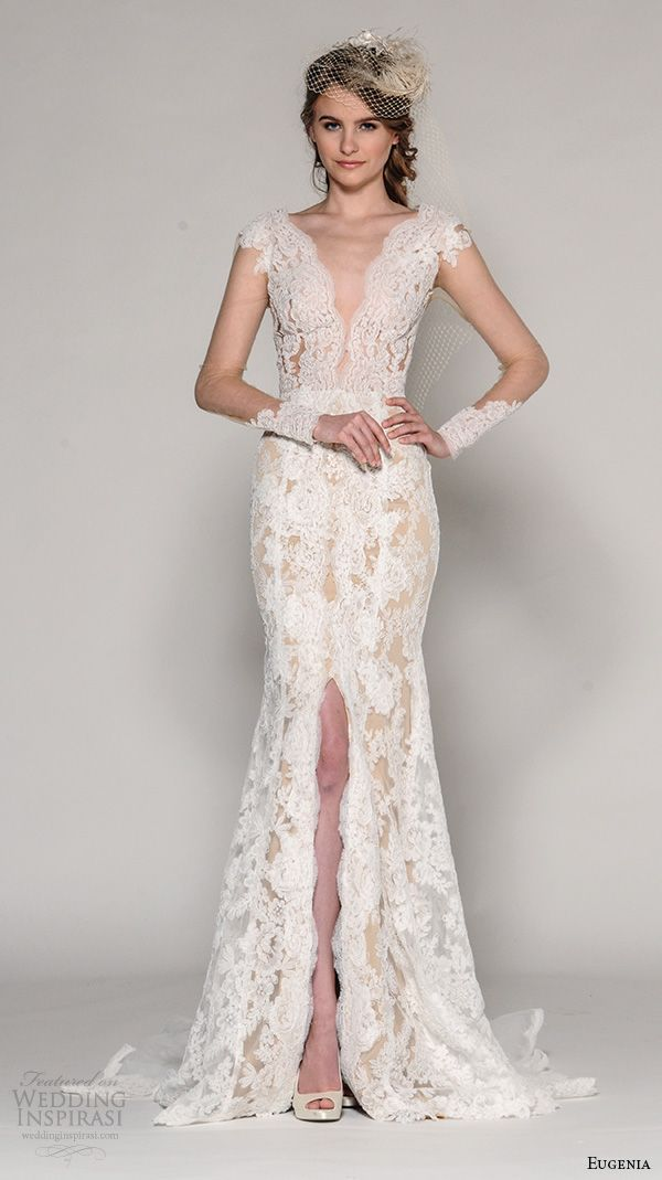 EUGENIA COUTURE Fall 2016 bridal cap sleeves deep plunging v neck illusion sleeves lace embroidered fit to flare #wedding dress style Zanna  #weddinggown #weddingdress
