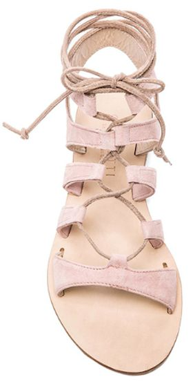 pink leather gladiator sandals Also known as ghillie ties