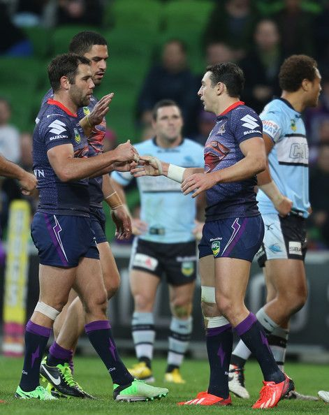 Billy Slater of the Storm is congratulated by Cameron Smith after scoring a try during the round 13 NRL match between the Melbourne Storm and the Cronulla Sharks at AAMI Park on June 9, 2013 in Melbourne, Australia. http://footyboys.com