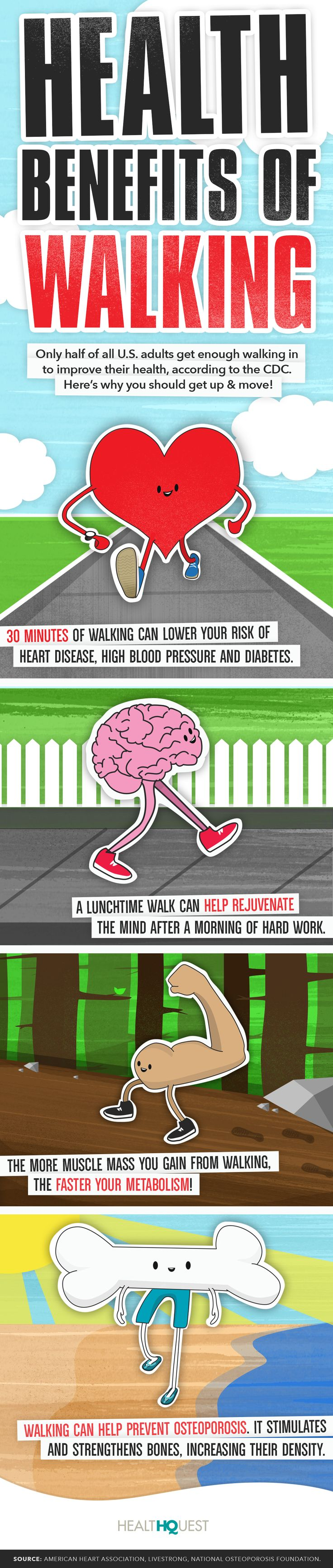 Learn more about the health benefits of walking.
