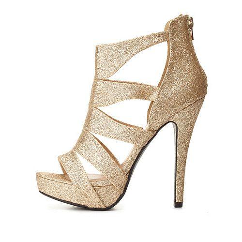 Strappy Caged Glitter Platform Heels: Charlotte Russe