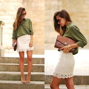 Chic lace skirt, chambray or colored silk blouse and neutral heels... love it