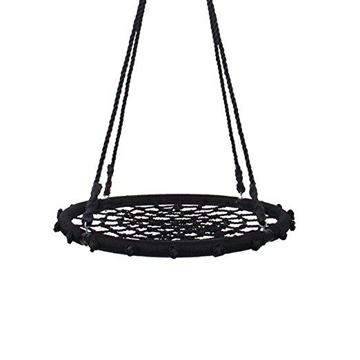 Yorbay® Kids Nest Swing Seat Web Spider With Hanging Ropes 200kg Load (∅100cm, Black)
