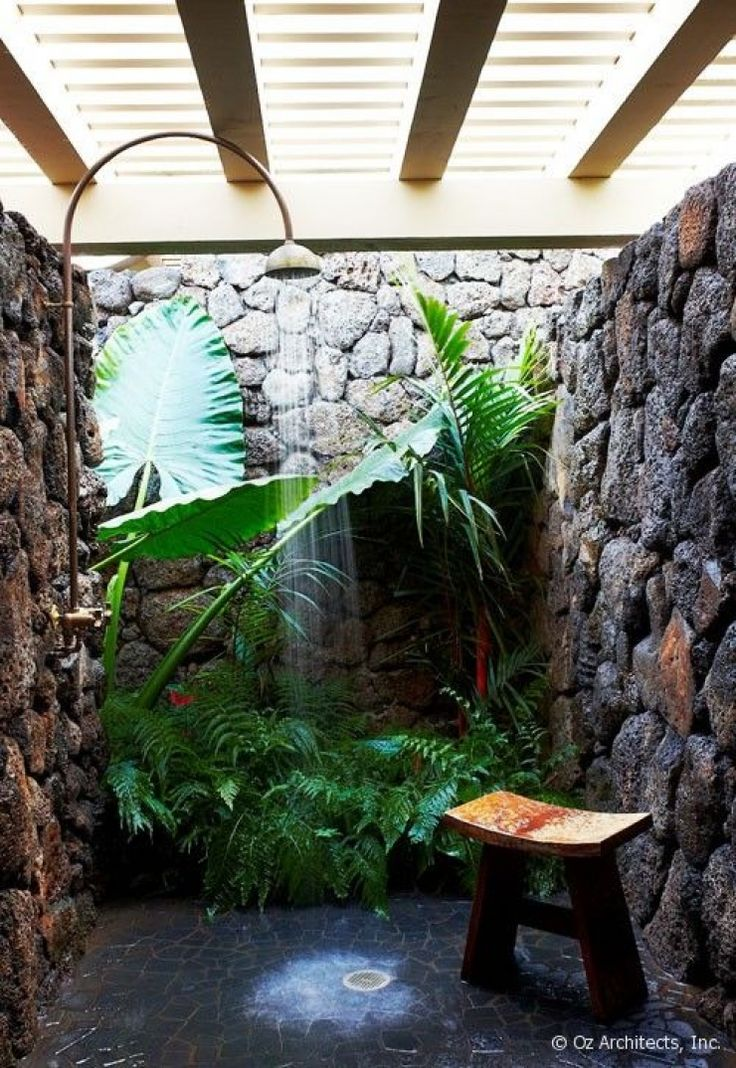 Outdoor shower: it is almost impossible do not love the plants right there as if surrounded by a waterfall in a natural setting. ➤To see more Luxury Bathroom ideas visit us at www.luxurybathrooms.eu #luxurybathrooms #homedecorideas #bathroomideas @BathroomsLuxury