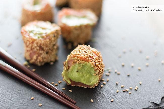 Falsos makis de salmón y aguacate con wasabi. Receta