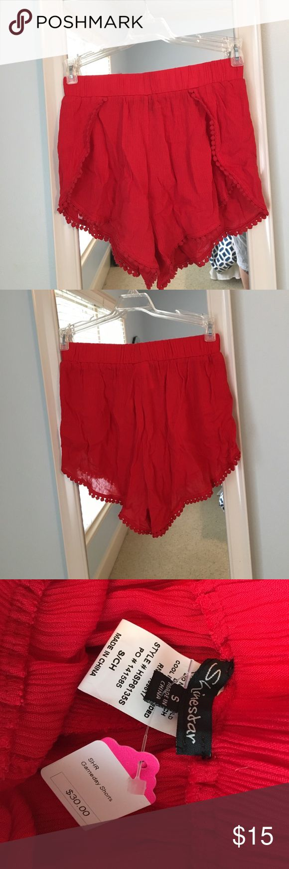 Game day shorts Shinestar red shorts. Size small. NWT. Perfect condition! Great for college game days! Shorts