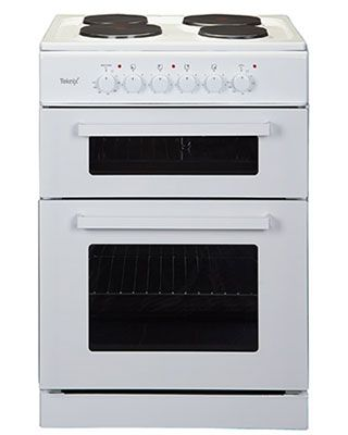 This brand new free standing electric cooker is finished in pure white and comes with 2 years parts and labour warranty. Features solid hotplates and manual controls.