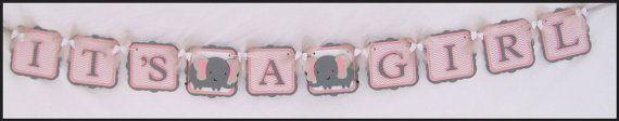 chevron de bannière rose de douche de bébé par NancysBannerBoutique