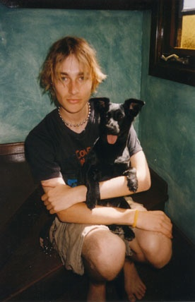Daniel Johns from Silverchair with dog Sweep. One of my first HUGE celeb crushes.