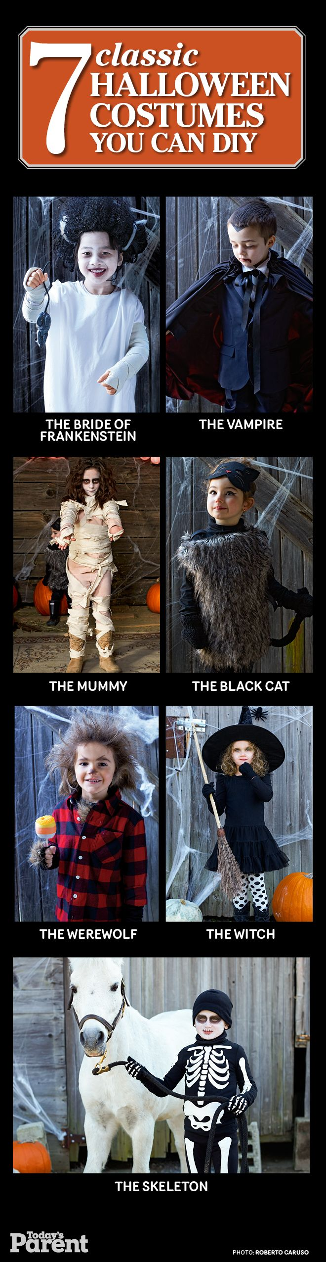 Get instructions on how to DIY these 7 classic Halloween kid costumes!