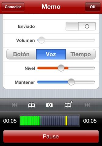 http://itunes.apple.com/es/app/id338550388?mt=8&affId=1788472&ign-mpt=uo%3D6  Audio Memos es un grabador de voz profesional. Lo que realmente le gustara es su capacidad a hacer os oír vuestras grabaciones. Fácil de uso, con una interface sencilla e intuitiva, pero con funciones avanzadas como la amplificación y normalización del volumen, marcas de posición, la grabación activada por voz, la compresión audio y muchas más.