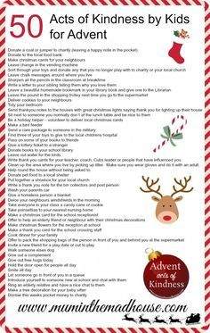 An Alternative Advent Calendar – 50 Acts of Kindness by kids – Mum in the Mad House                                                                                                                                                                                 More
