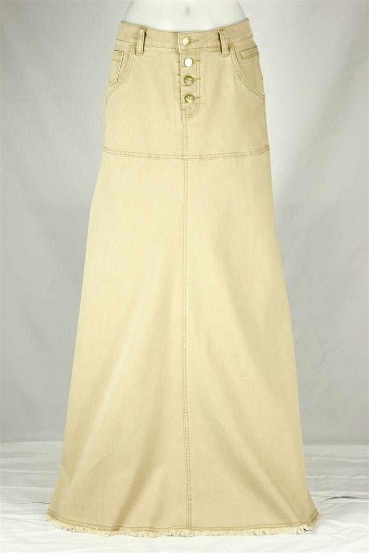 Feminine Long Khaki Skirt, sizes 6-18: theskirtoutlet.com