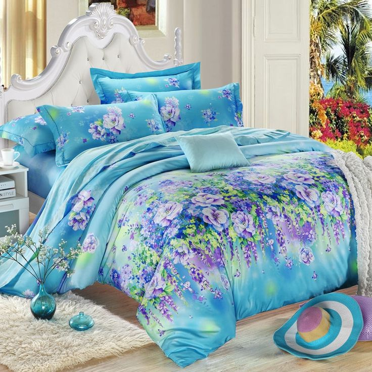 Blue and purple fresh style oriental floral print 100 for Best color bed sheets