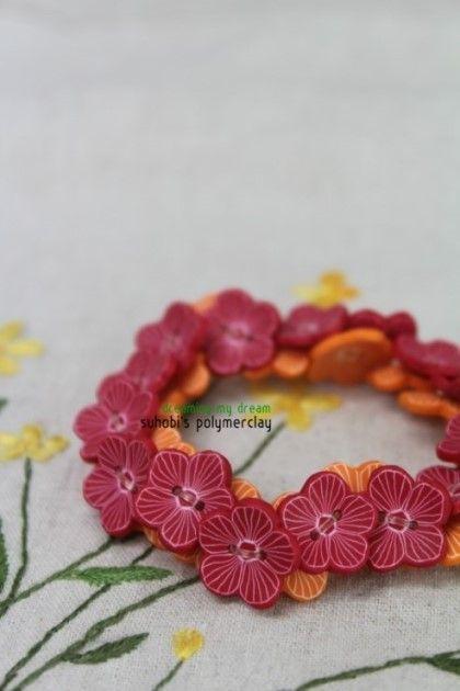 폴리머클레이 꽃단추로 팔찌 만들기(polymer clay) /수호비의 폴리머클레이 : 네이버 블로그