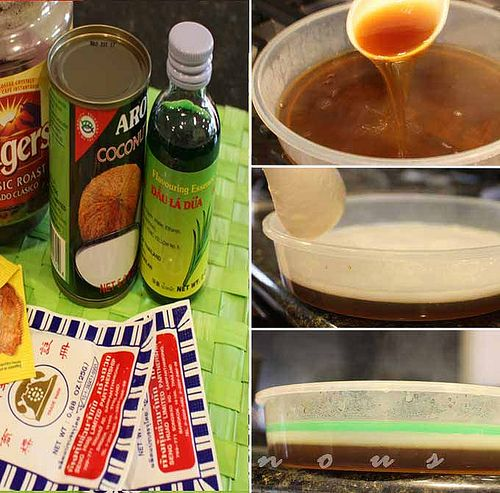 Vietnamese Coffee, Coconut, and Pandan Jelly (Thach Rau Cau)