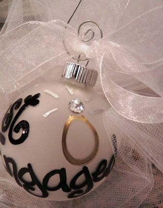 Hand Panted Christmas Ornament  Just Engaged by SassyPeasDesigns, $12.00