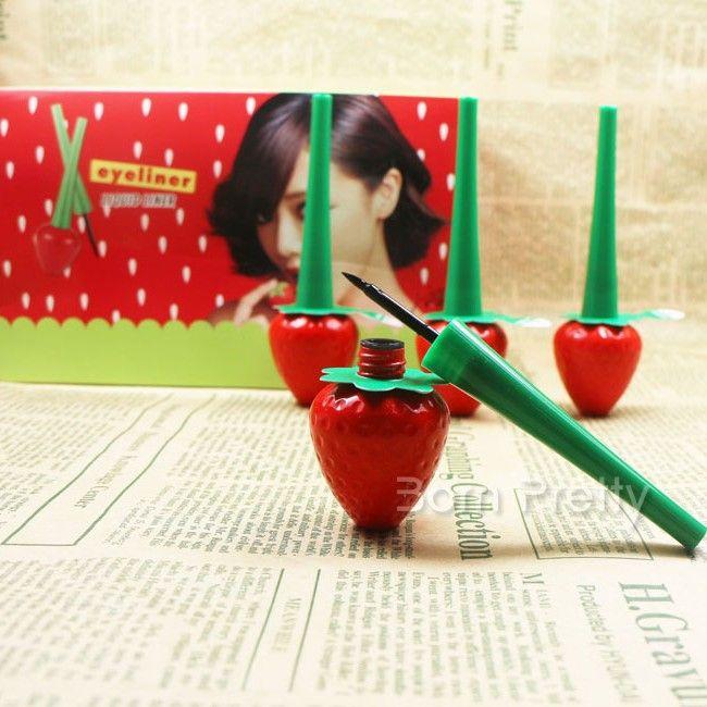 $2.96 1pc Black Liqulid Eyeliner Pen Cute Strawberry Design Waterproof Eyeliner Gel - BornPrettyStore.com