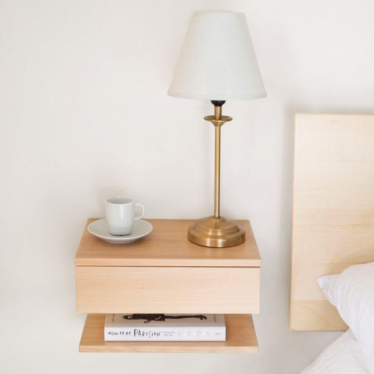 Wooden Floating Bedside Table #furniture #spacesaving #bedsidetable