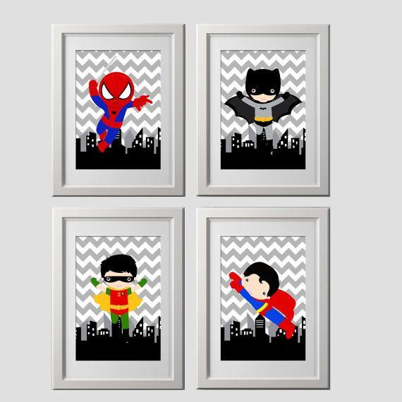décor de mur super-héros tirages d'art mural par AmysSimpleDesigns