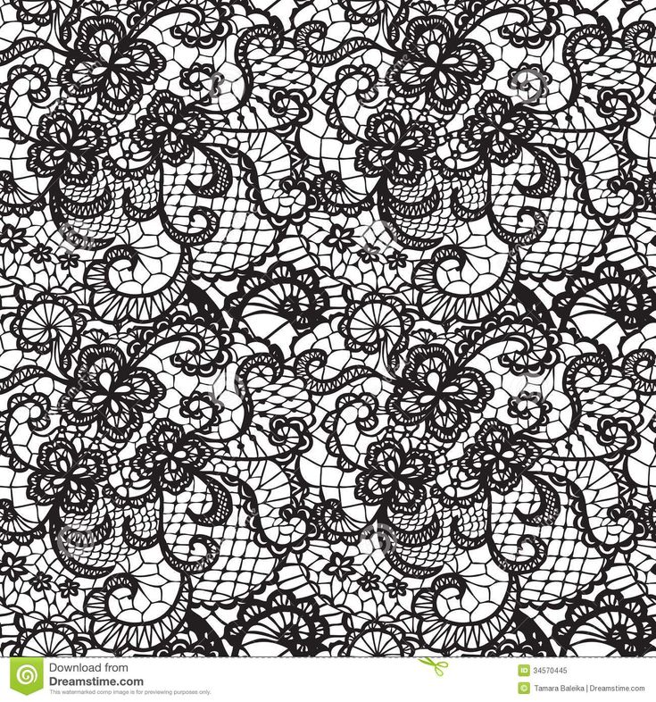 White Lace Background | Lace black seamless pattern with flowers on white background.