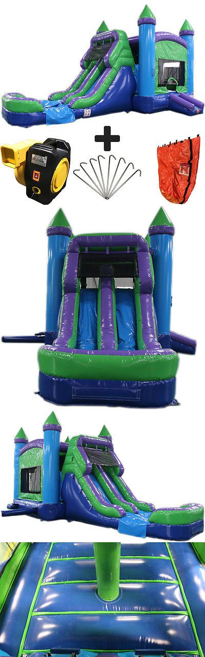 Inflatable Bouncers 145979: 28Ft Green N Purple Wet Dry Commercial Inflatable Bounce House Water Slide Combo -> BUY IT NOW ONLY: $1999 on eBay!