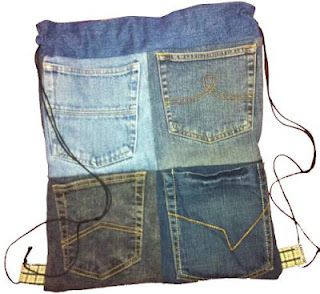 Sewing project for girls - drawstring bag made from denim pockets