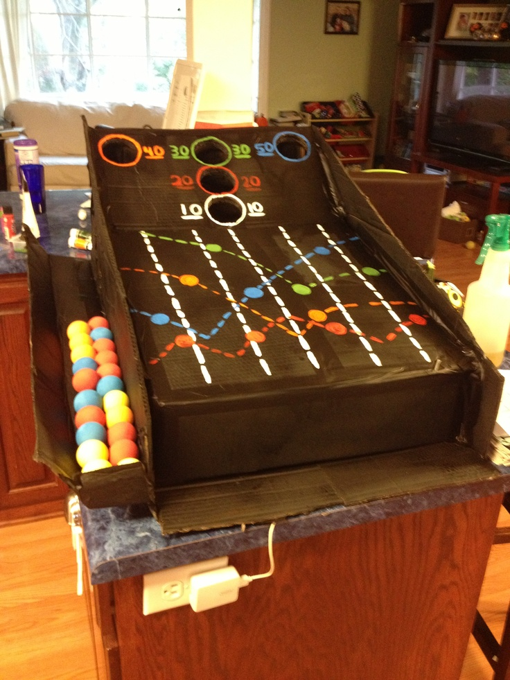 Cardboard Box Skee Ball Machine Spray Painted Party