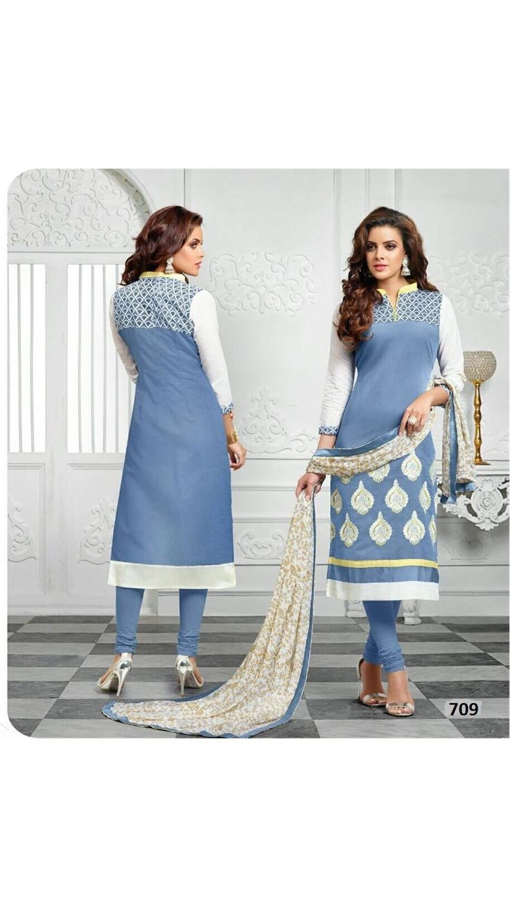 Buy Saiveera New Arrival Light Blue Cotton Emboidered Unstiched Casual Salwar Suit Online at Low Prices in India - Paytm.com