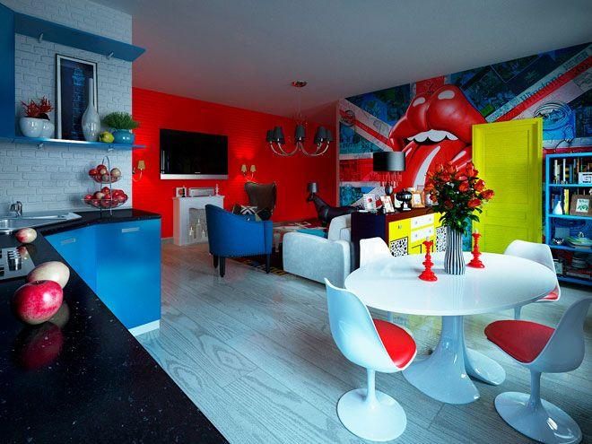 Гостиная. Квартира для молодой пары в стиле Pop-Art - дизайн кухни в СПб