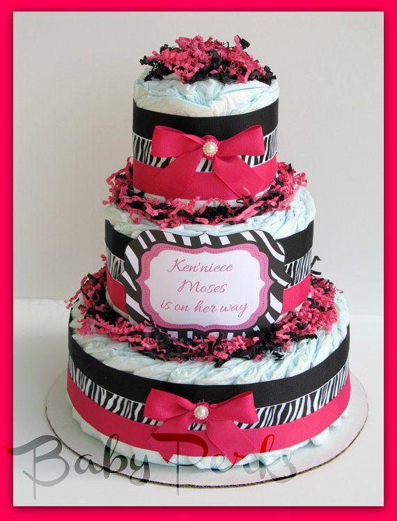 Hot Pink, Zebra Diaper cake, Safari Baby Shower , Hot Pink and Black Diaper cake, Baby Shower Decorations,