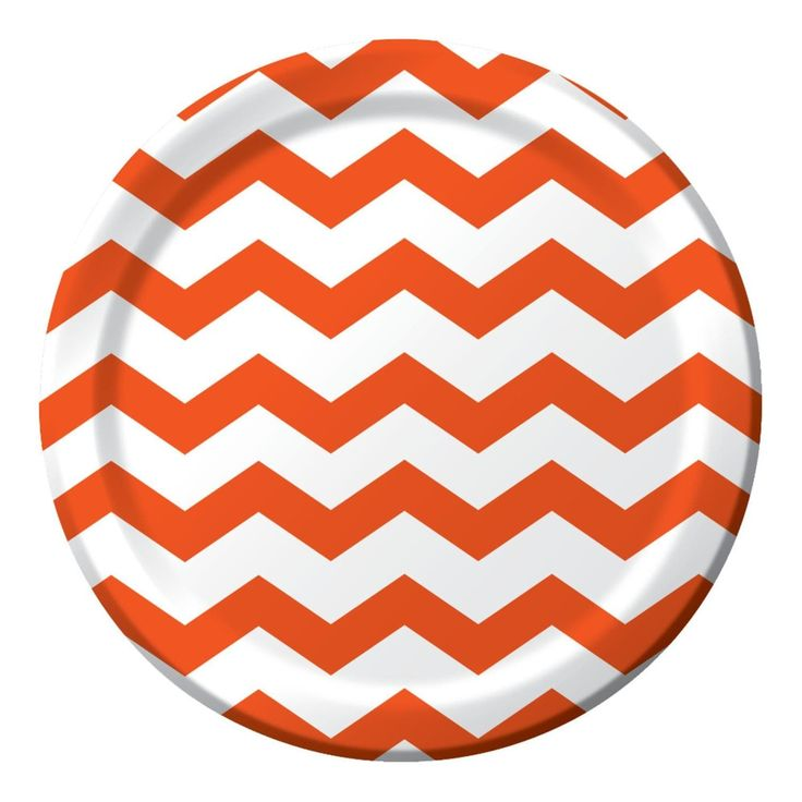 Club Pack of 192 Chevron Dots Sun kissed Orange Disposable Paper Party Dinner Plates 9