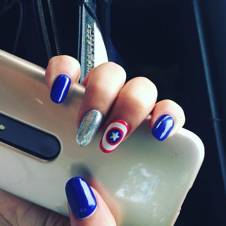 #uñas #capitanamerica nails capitan america ❤️
