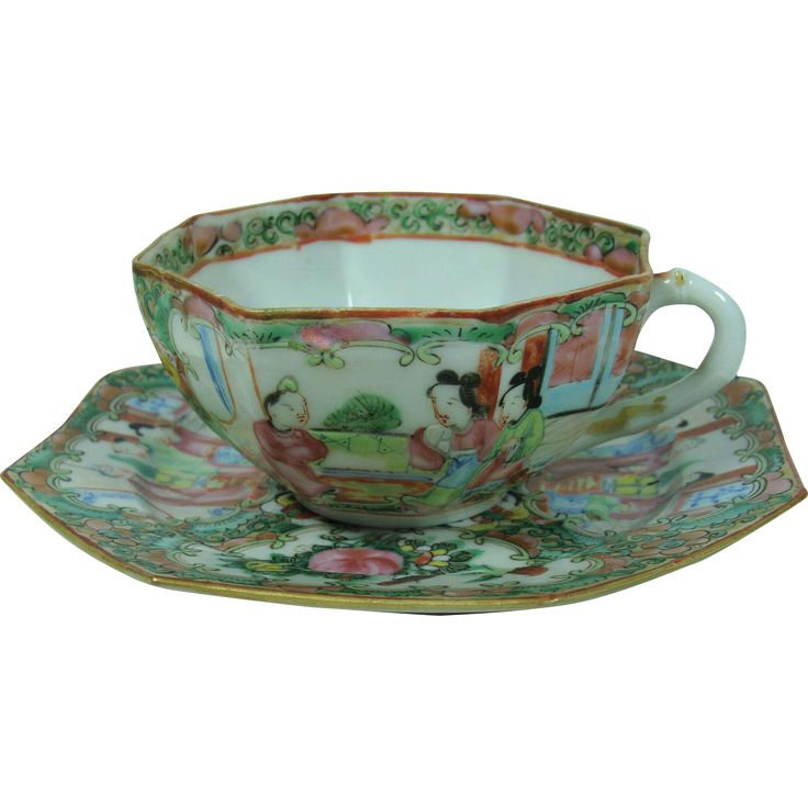 Rose Medallion Chinese Import Hex Cup and Saucer from Maiden Memories on Ruby Lane