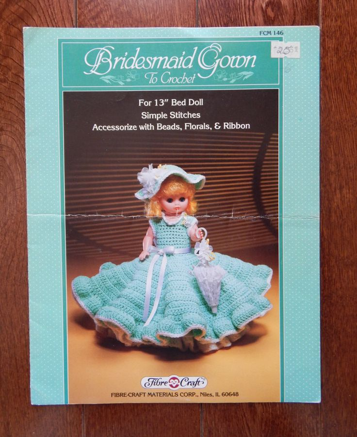"""Doll Dress Crochet Pattern For Bed Doll/Fibre Craft Bridesmaid Gown Size 13"""" Doll/ Doll Decor Bedroom by RedWickerBasket on Etsy"""
