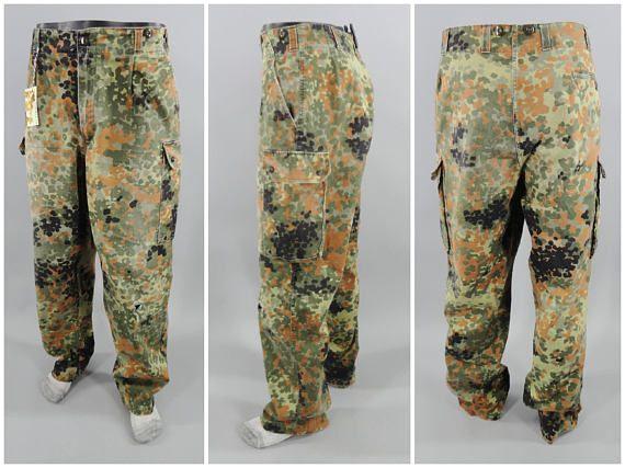 1990s Vintage German Army Flecktarn Pattern Camo Pants Camouflage Bundeswehr Trousers Size 36x34 Flectarn Camo Size XL http://etsy.me/2G5zksj