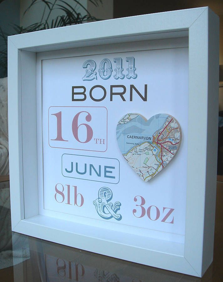 Baby Map Picture - This would be easy to make!  Shadow box, map of birth location, scrapbook paper or cardstock, and a printer or cricut for your letters and numbers.  Done!
